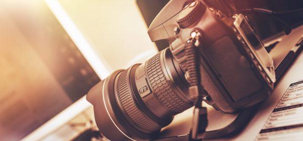Digital,Photography,Workstation.,Modern,Digital,Dslr,Camera,,Laptop,Computer,And